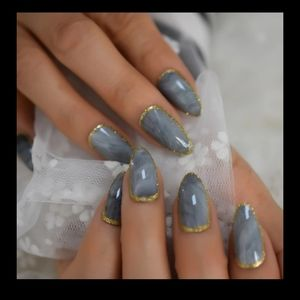 Grey and gold almond shaped press on nails